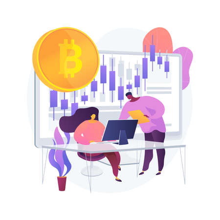Cryptocurrency trading desk abstract concept vector illustration.