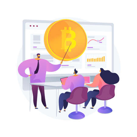 Cryptocurrency trading courses abstract concept vector illustration.