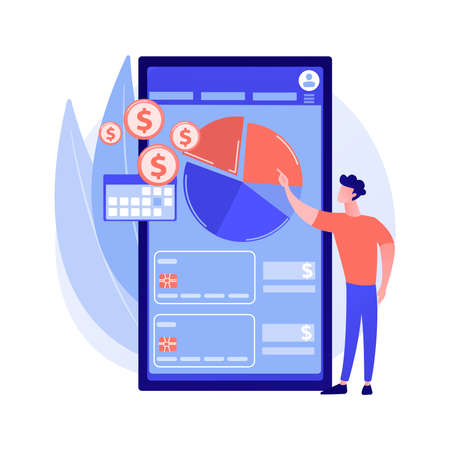 Mobile expense management abstract concept vector illustration.