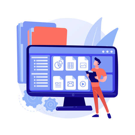 Document management soft abstract concept vector illustration.