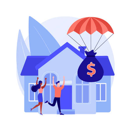 Mortgage relief program abstract concept vector illustration.