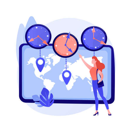 Time zones abstract concept vector illustration.