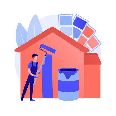 Painter services abstract concept vector illustration.