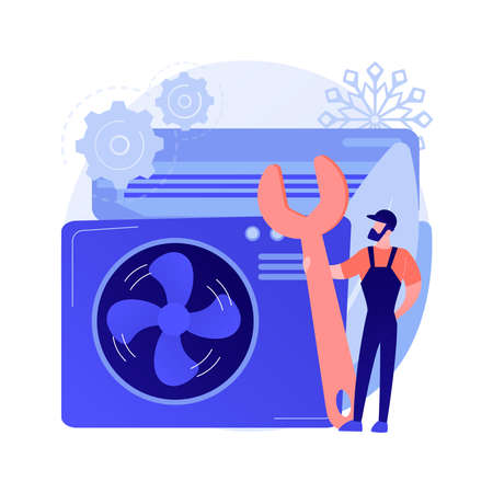 Air conditioning and refrigeration services abstract concept vector illustration. Stock Illustratie