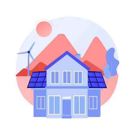 Eco house abstract concept vector illustration.