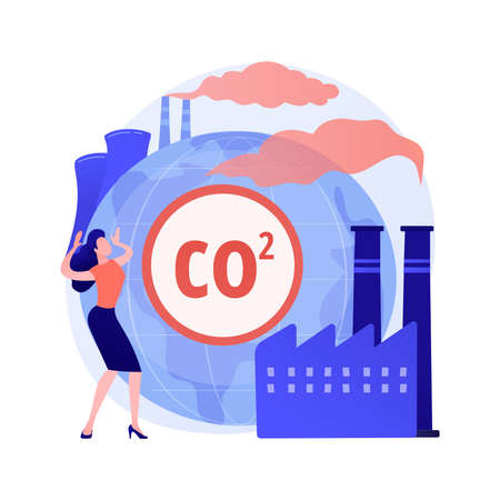 Global CO2 emissions abstract concept vector illustration.