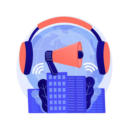Noise pollution abstract concept vector illustration. Vettoriali
