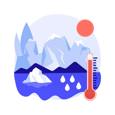 Melting glaciers abstract concept vector illustration.