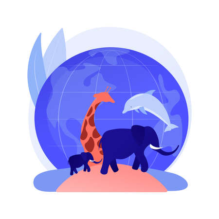 Wild animals protection abstract concept vector illustration.