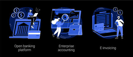 IT accounting system abstract concept vector illustrations.