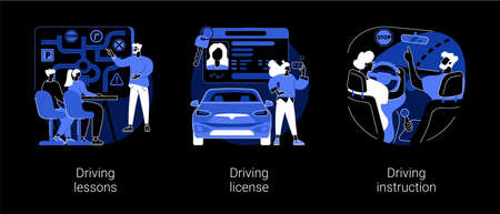 Driving school abstract concept vector illustrations. Stock Illustratie