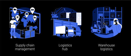 Goods transportation and storage abstract concept vector illustrations.