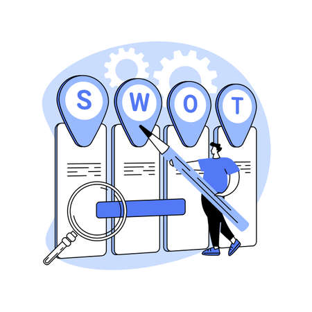 SWOT analysis abstract concept vector illustration.