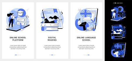 Online education mobile app UI kit. Ilustração