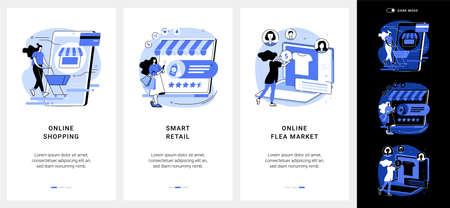 E-commerce platform mobile app UI kit. Vektorgrafik