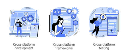 Cross-platform operating system abstract concept vector illustrations.