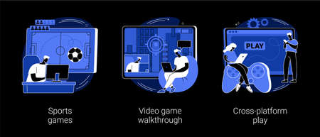 Digital gaming abstract concept vector illustrations. Sports games, video game walkthrough, cross-platform play, console playing, online multiplayer, e-sport league, streaming dark mode metaphor.