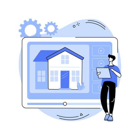 Real estate video tour abstract concept vector illustration. Ilustração