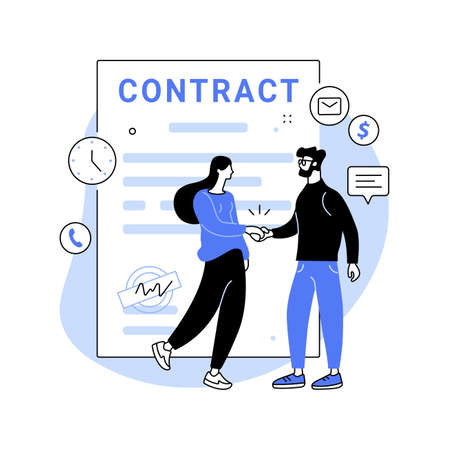 Employment agreement abstract concept vector illustration.