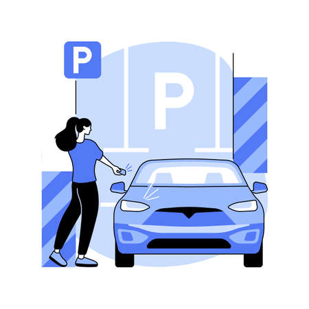 Parking area abstract concept vector illustration. Stock Illustratie