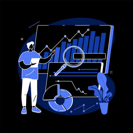 Data driven business model abstract concept vector illustration.