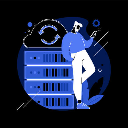 Backup server abstract concept vector illustration.