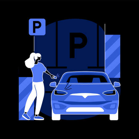 Parking area abstract concept vector illustration. 矢量图像