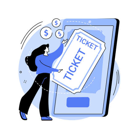 Buying tickets online abstract concept vector illustration.