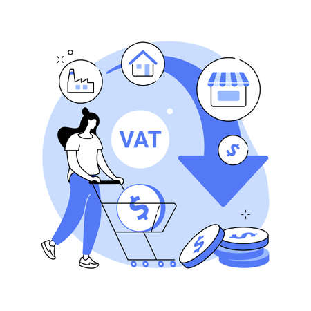Value added tax system abstract concept vector illustration. 向量圖像