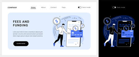 Fees and funding vector concept landing page.