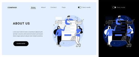 About us vector concept landing page.