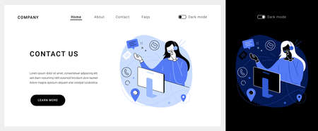 Contact us vector concept landing page.  イラスト・ベクター素材