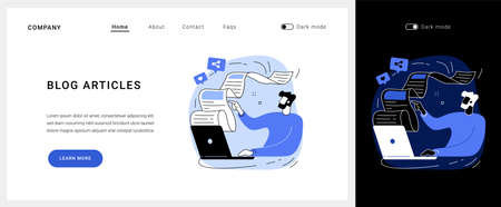 Blog articles vector concept landing page.  イラスト・ベクター素材