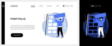 Portfolio vector concept landing page.  イラスト・ベクター素材