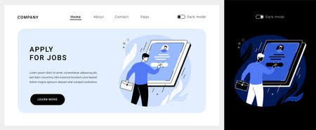 Apply for jobs vector concept landing page.