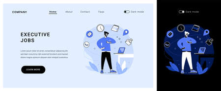 Executive jobs vector concept landing page.  イラスト・ベクター素材