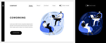 Coworking vector concept landing page.  イラスト・ベクター素材
