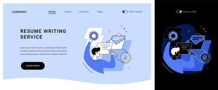 Resume writing service vector concept landing page.  イラスト・ベクター素材