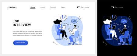 Job interview vector concept landing page.
