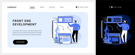 Front end development vector concept landing page.  イラスト・ベクター素材