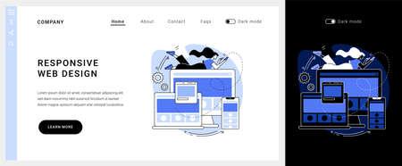 Responsive web design vector concept landing page.