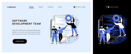 Software development team vector concept landing page.
