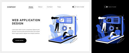 Web application design vector concept landing page.