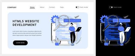 HTML5 website development vector concept landing page.  イラスト・ベクター素材