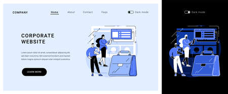 Corporate website vector concept landing page.  イラスト・ベクター素材