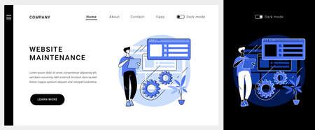 Website maintenance vector concept landing page.  イラスト・ベクター素材