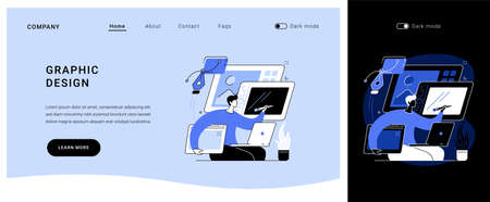 Graphic design vector concept landing page.  イラスト・ベクター素材