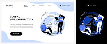 Global web connection vector concept landing page.