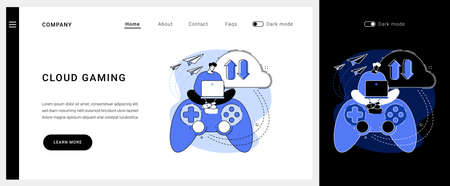 Cloud gaming vector concept landing page.  イラスト・ベクター素材