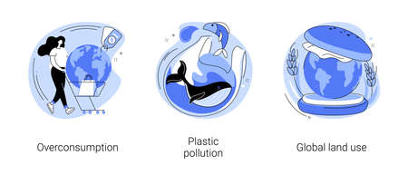 Global pollution problem abstract concept vector illustrations. Иллюстрация